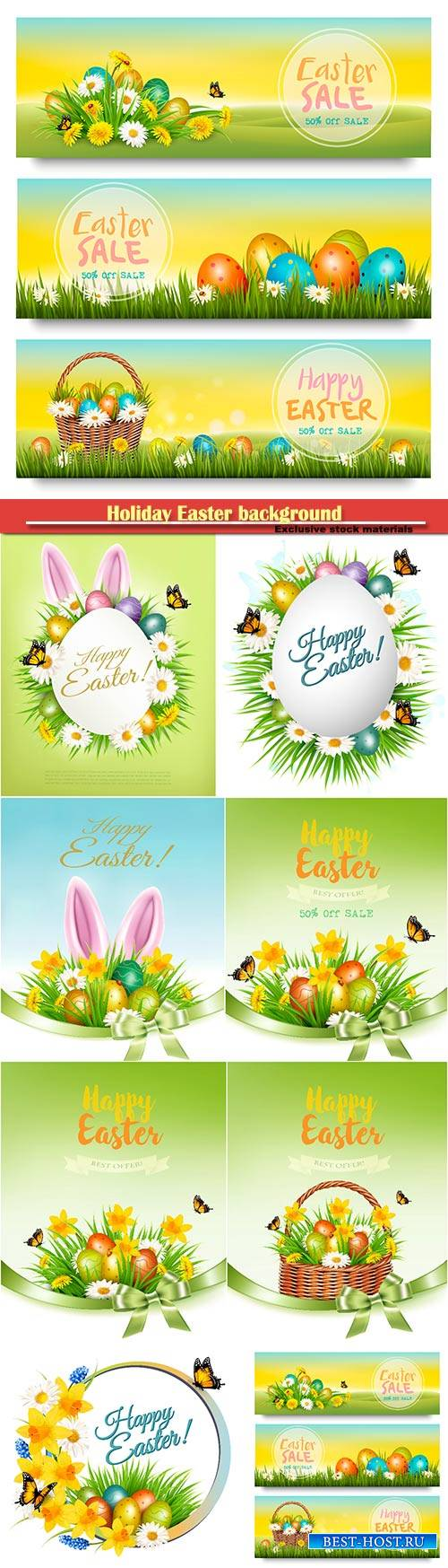 Holiday easter background with a colorful eggs and spring flowers