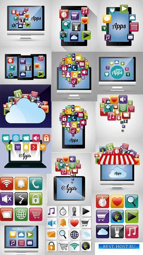 Технологии для интернета - Векторный клипарт / Internet technology - Vector Graphics