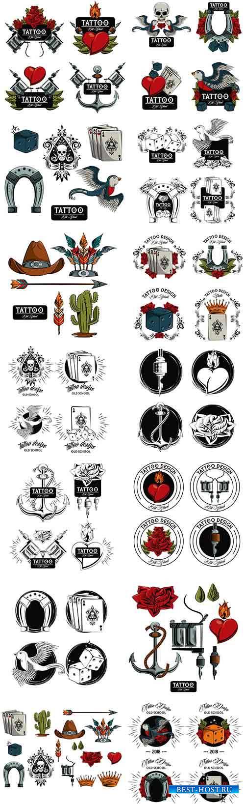Набор шаблонов для тату в векторе / Set of patterns for tattoo in vector