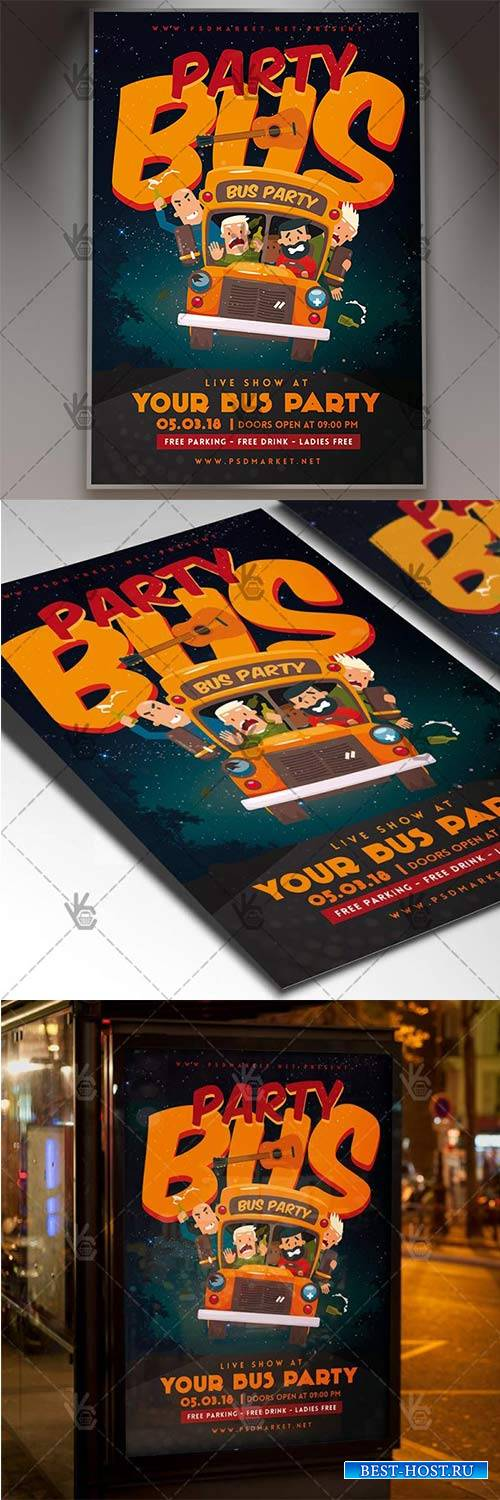 Party Bus Night – Club Flyer PSD Template