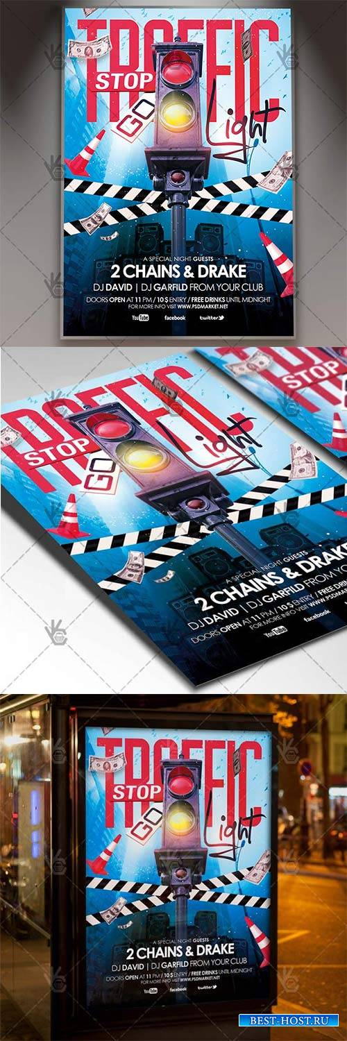 Traffic Light Party – Club Flyer PSD Template