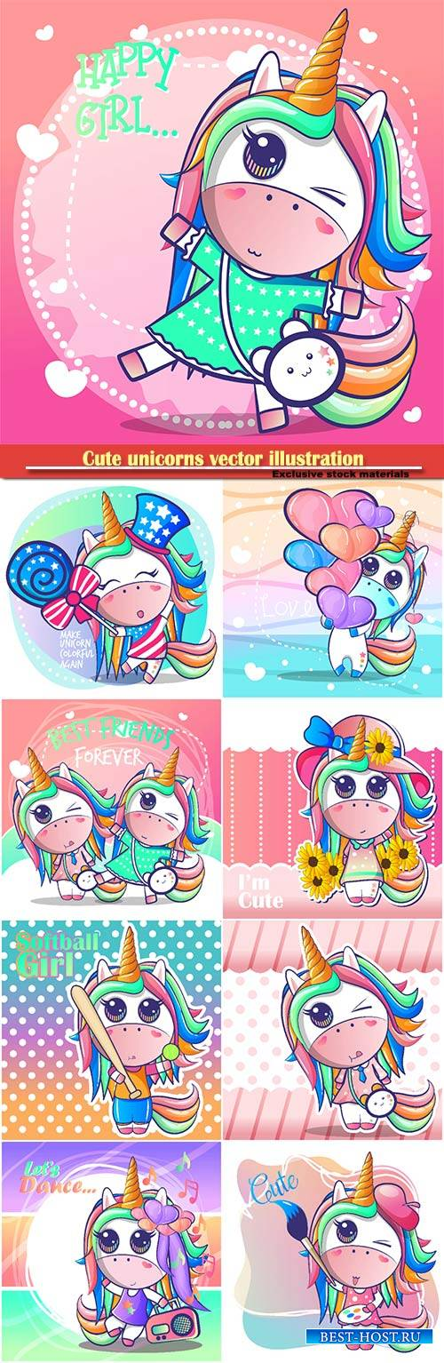 Cute unicorns vector illustration
