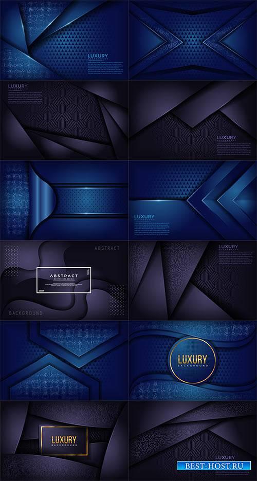 Синие абстрактные фоны в векторе / Blue abstract backgrounds in vector