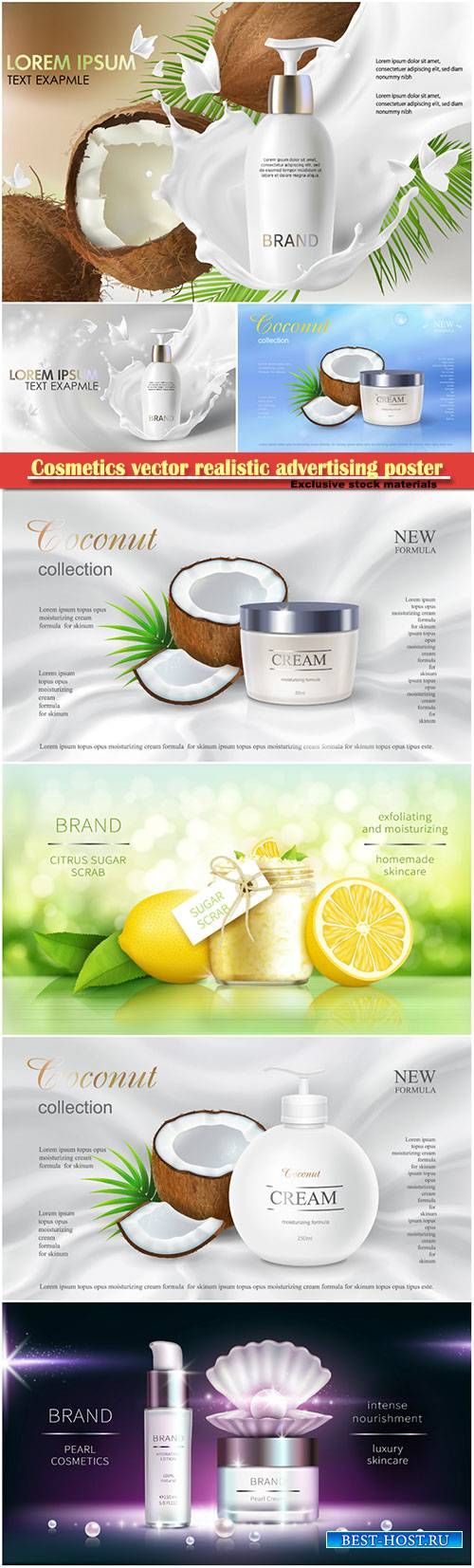 Cosmetics vector realistic advertising poster, packaging for cosmetic produ ...
