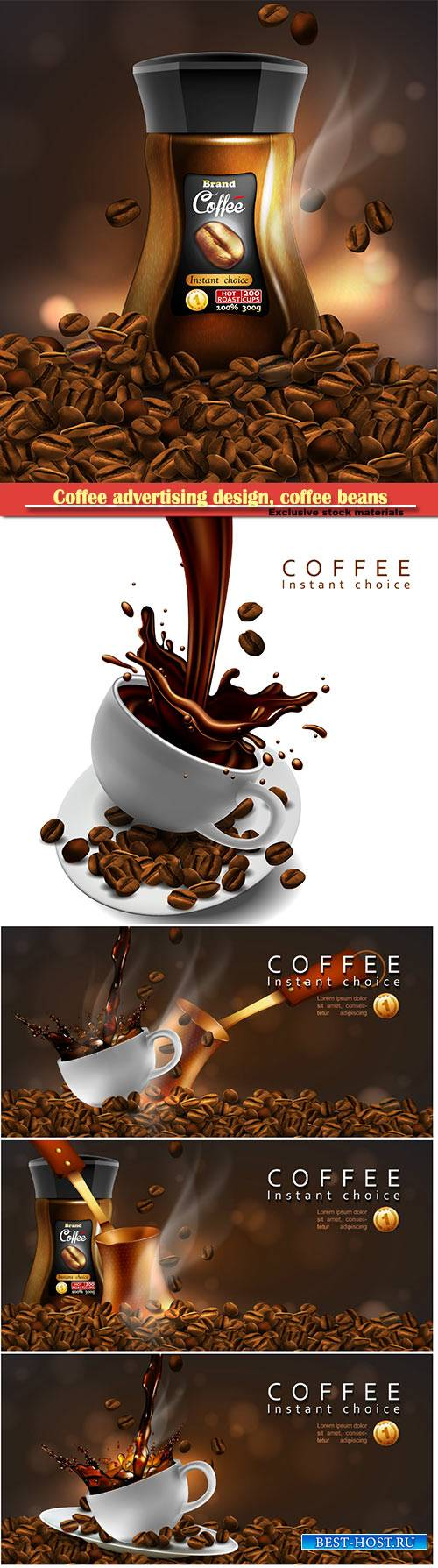 Coffee advertising design, coffee beans, cup of coffee with a splash effect ...