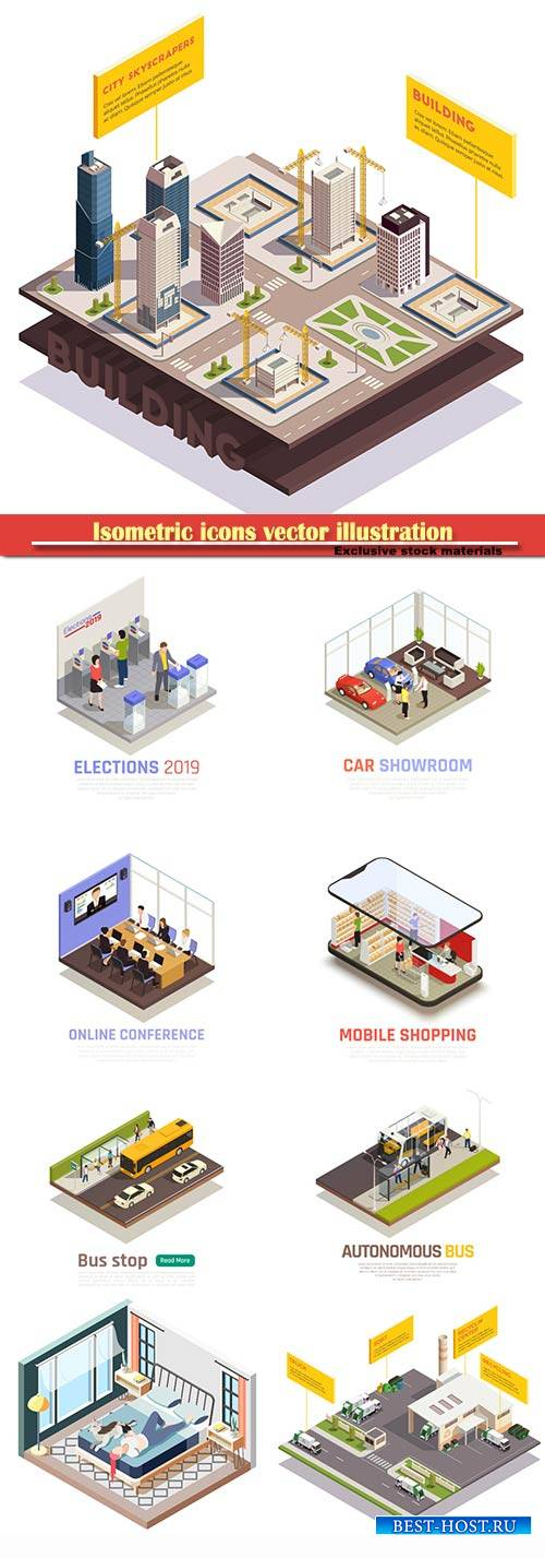 Isometric icons vector illustration, banner design template # 46