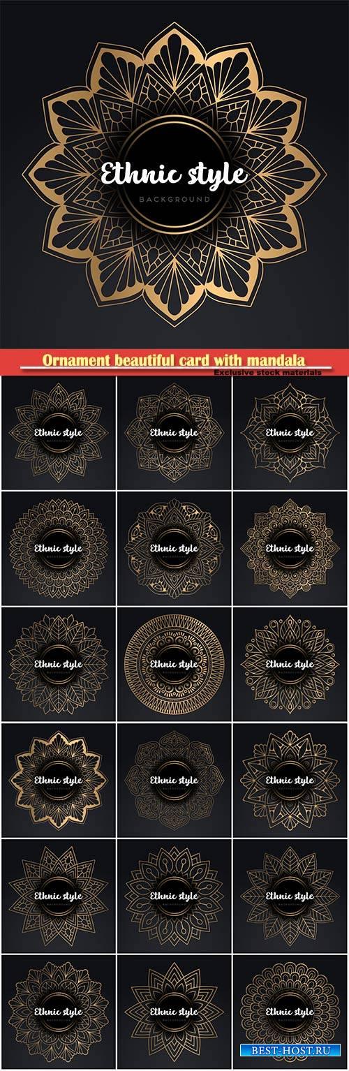 Ornament beautiful card with mandala vector design illustration