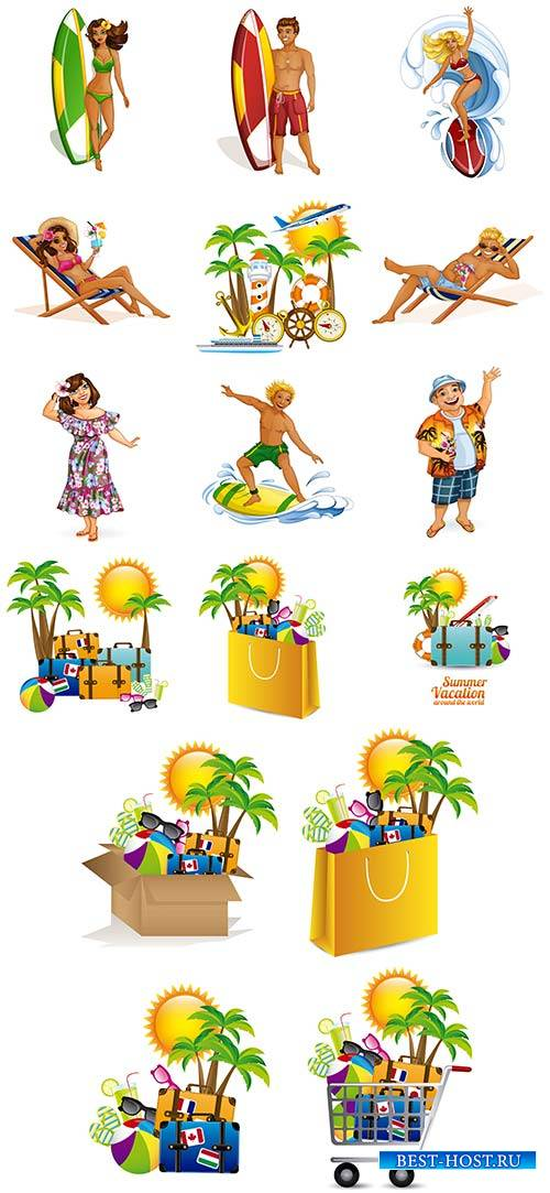 Здравствуй лето - 2 - Векторный клипарт / Hello summer - 2 - Vector Graphics