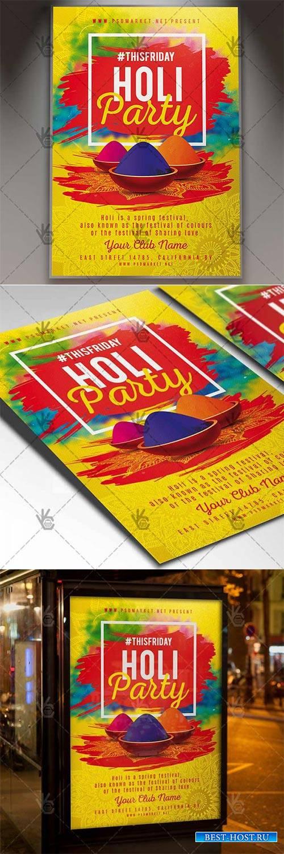 Holi Party – Club Flyer PSD Template