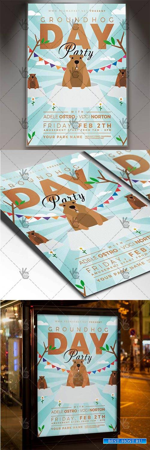 Groundhog Day – Seasonal Flyer PSD Template