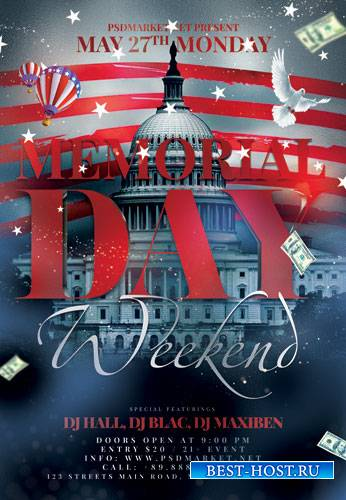MEMORIAL DAY WEEKEND FLYER – PSD TEMPLATE