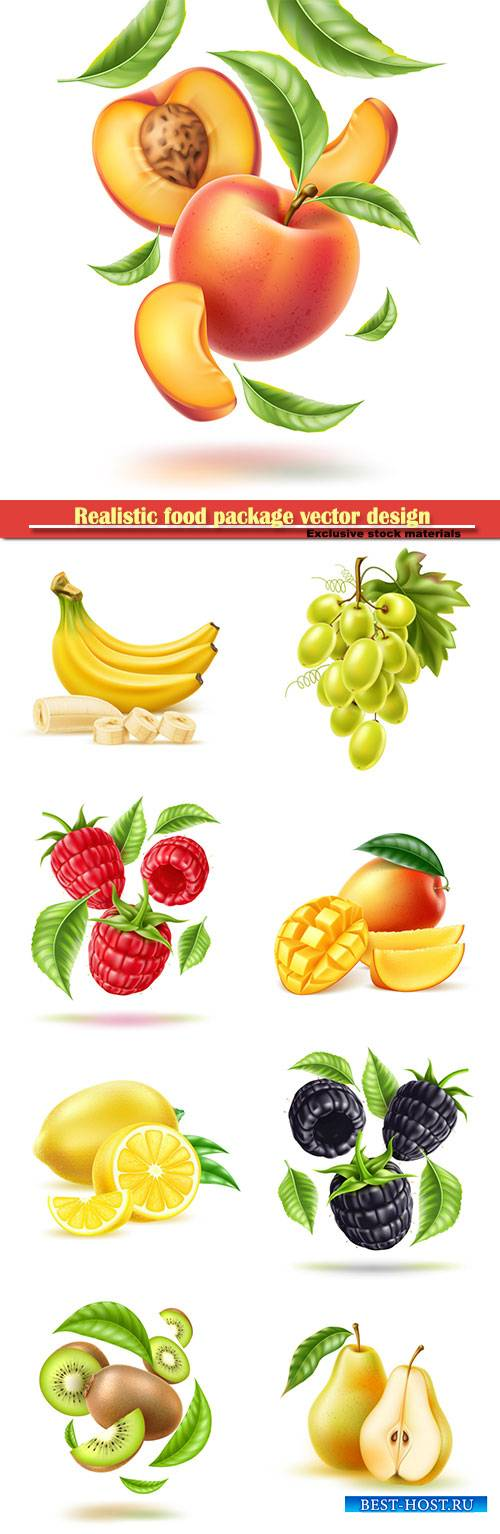 Realistic food package vector design, fruits and berries