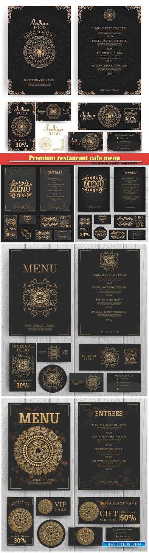 Premium restaurant cafe menu, template vector design
