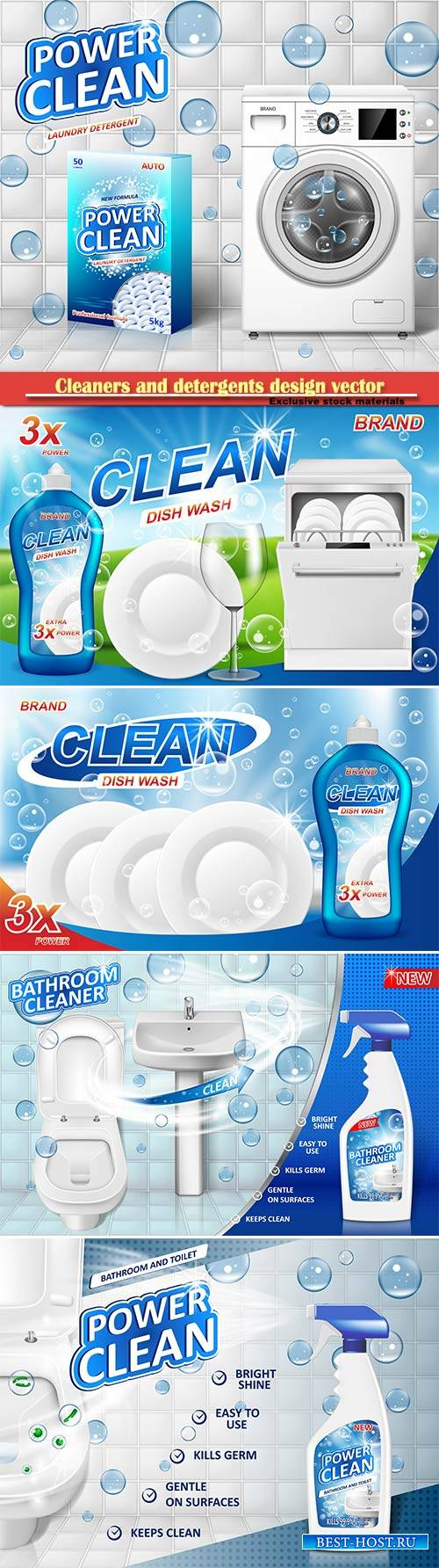 Cleaners and detergents design vector template