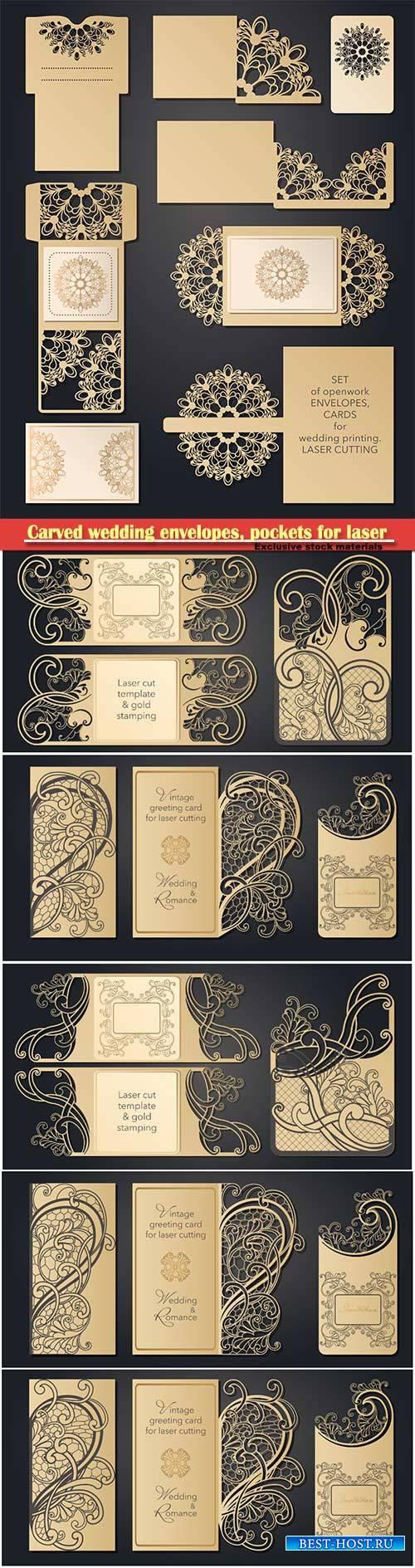 Carved wedding envelopes, pockets for laser cutting, invitations, wedding c ...
