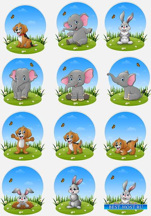 Животные на лужайке - Векторный клипарт / Animals on the lawn - Vector Grap ...