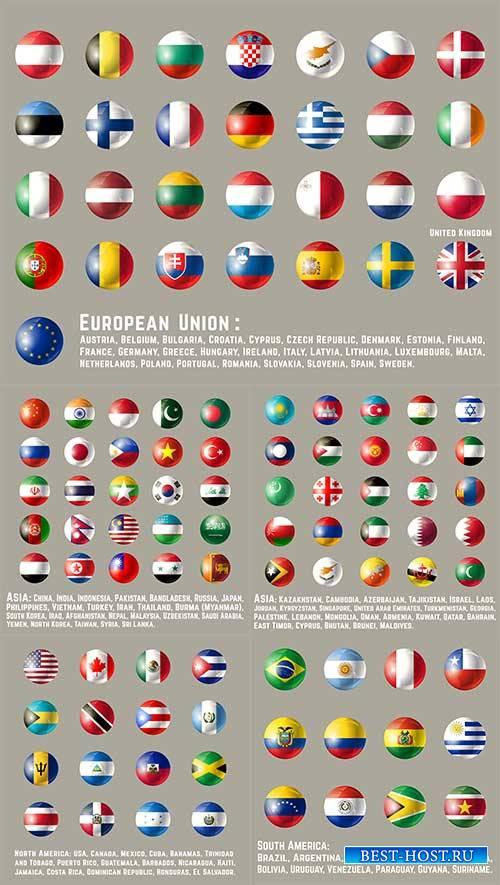 Иконки с флагами разных стран в векторе / Icons with flags of different countries in the vector