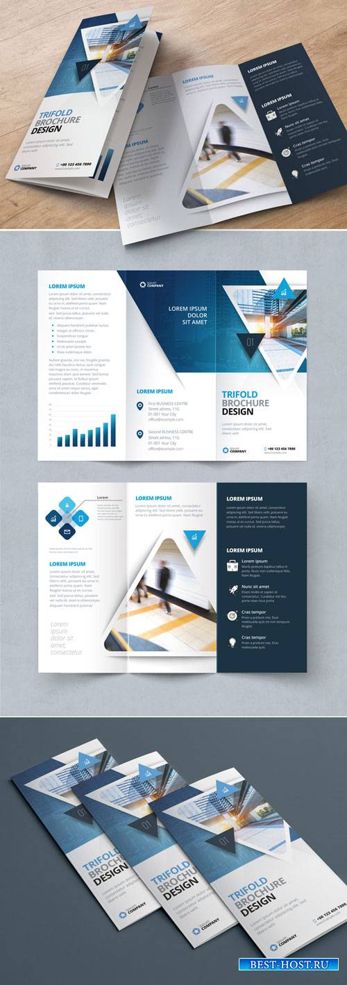 Blue Gradient Trifold Brochure Layout with Triangles 267840323