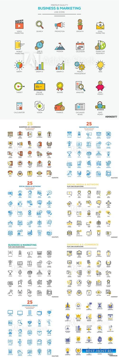 Modern flat line color icons vector illustration