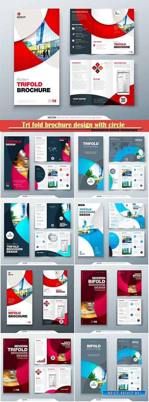 Tri fold brochure design with circle, corporate business template