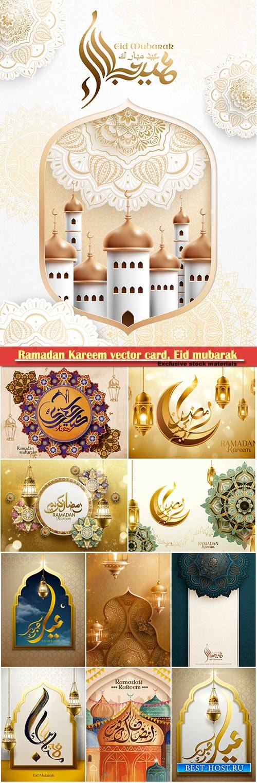 Ramadan Kareem vector card, Eid mubarak calligraphy design templates # 24