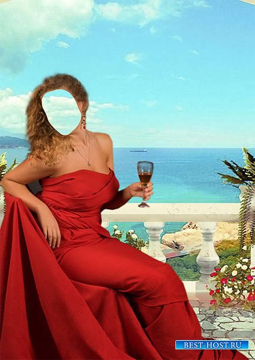 Шаблон для фотомонтажа - Девушка в красном платье с бокалом вина на фоне моря
