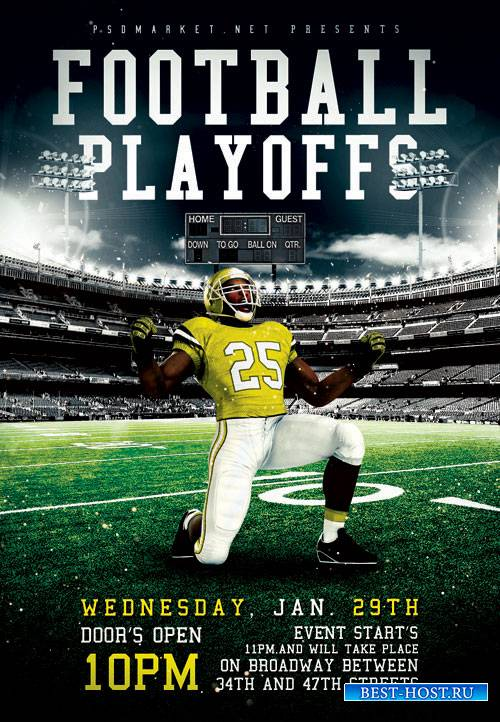 FOOTBALL PLAYOFFS – PREMIUM FLYER PSD TEMPLATE