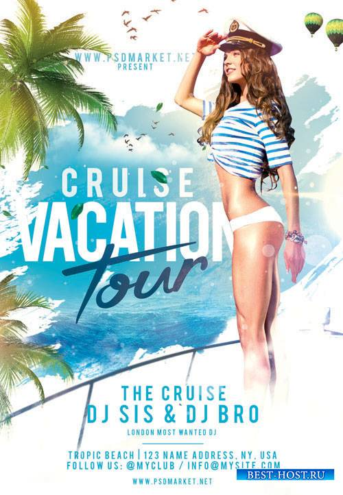 CRUISE VACATION TOUR FLYER – PSD TEMPLATE