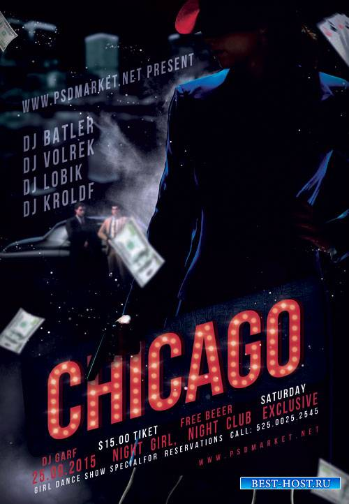 CHICAGO PARTY FLYER - PSD TEMPLATE