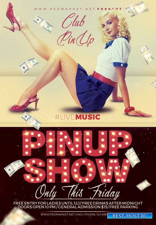 PIN UP SHOW FLYER - PSD TEMPLATE