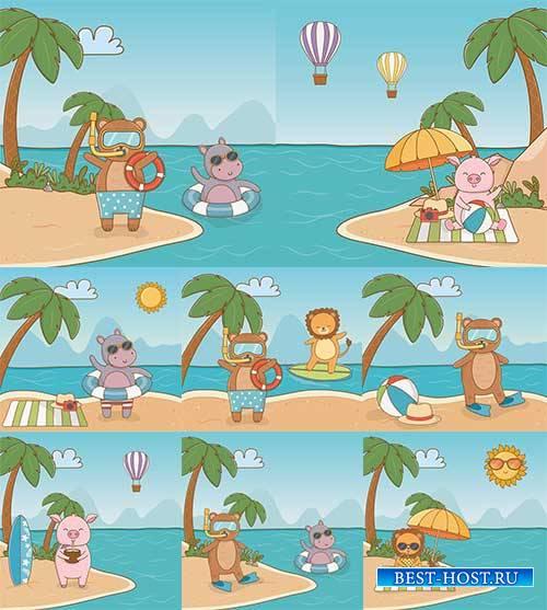 Летние каникулы зверей - Векторный клипарт / Summer holidays animals - Vector Graphics