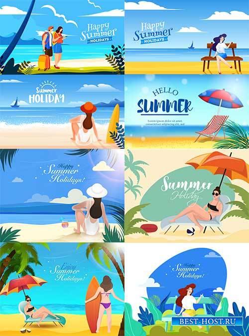 Люди на пляже - Векторный клипарт / People on the beach - Vector Graphics