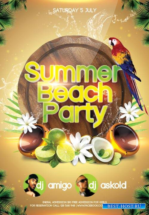 Summer Beach Party psd flyer template