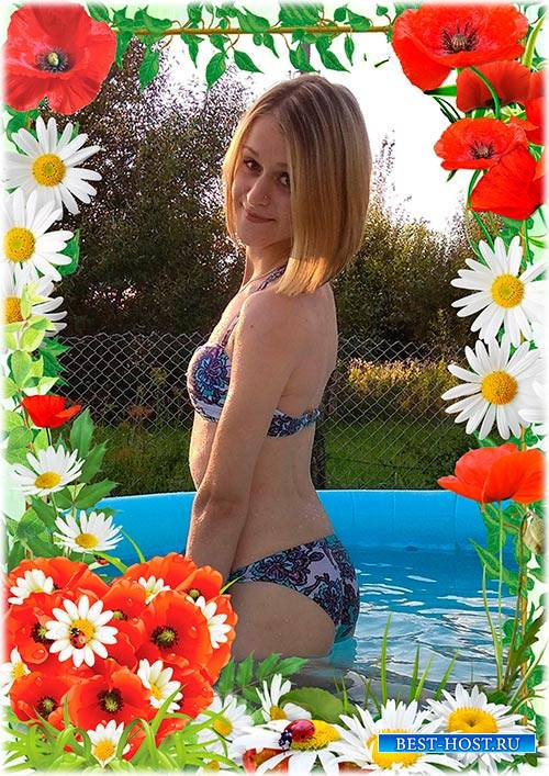 Цветочная рамка для летней фотографии - Ромашки и маки