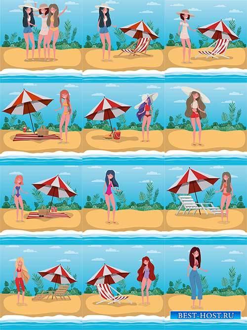 Девушки на море - Векторный клипарт / Girls at sea - Vector Graphics