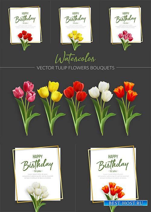 Поздравительная открытка с тюльпанами в векторе / Greeting card with tulips in vector