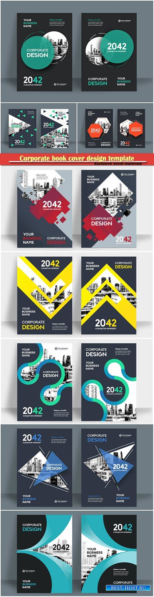 Corporate book cover design template, business vector flyer