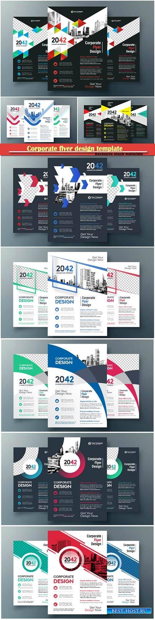Corporate flyer design template, business vector design template