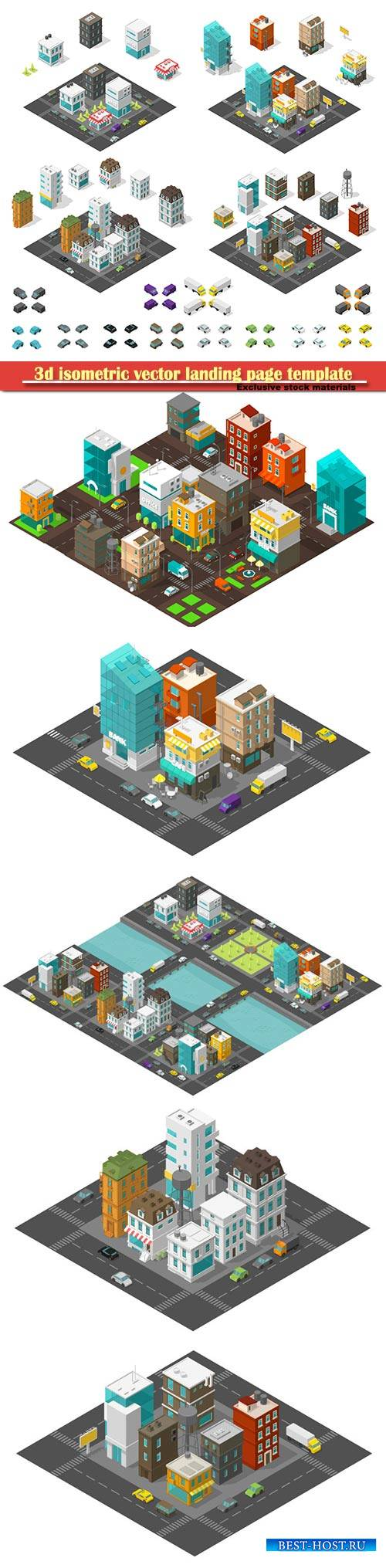 3d isometric vector landing page template # 2