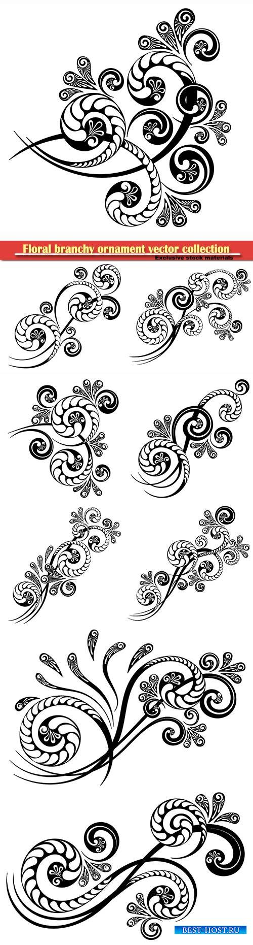 Floral branchy ornament with a beautiful complex pattern for decorative des ...
