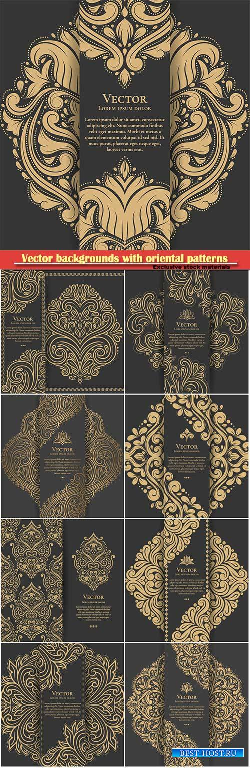 Vector backgrounds with oriental gold patterns