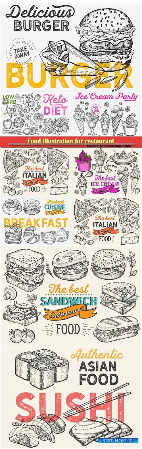 Food illustration for restaurant on vintage background