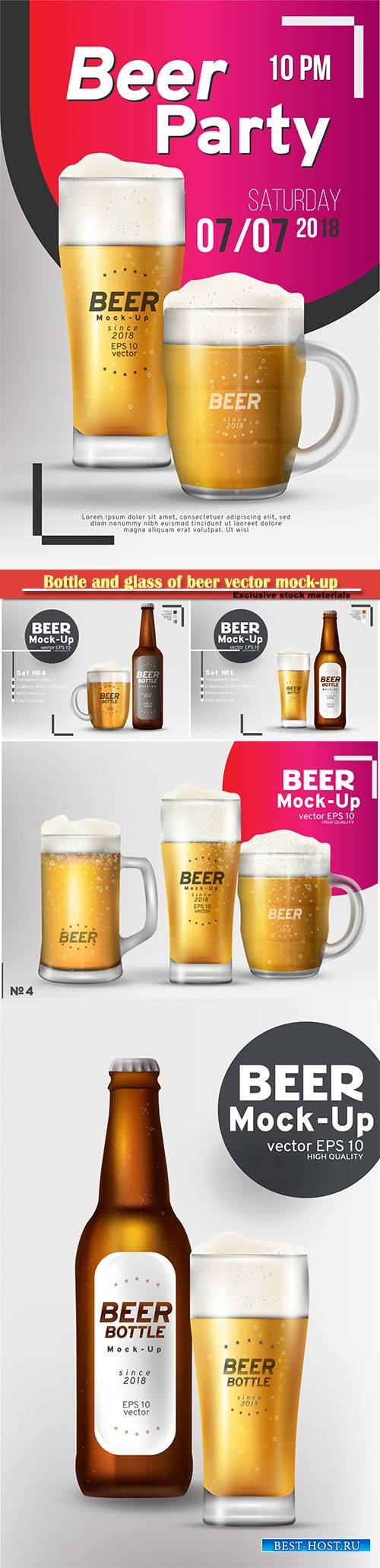 Bottle and glass of beer vector mock-up set