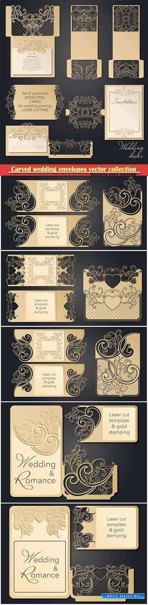 Carved wedding envelopes, pockets for laser cutting, pocket for congratulat ...