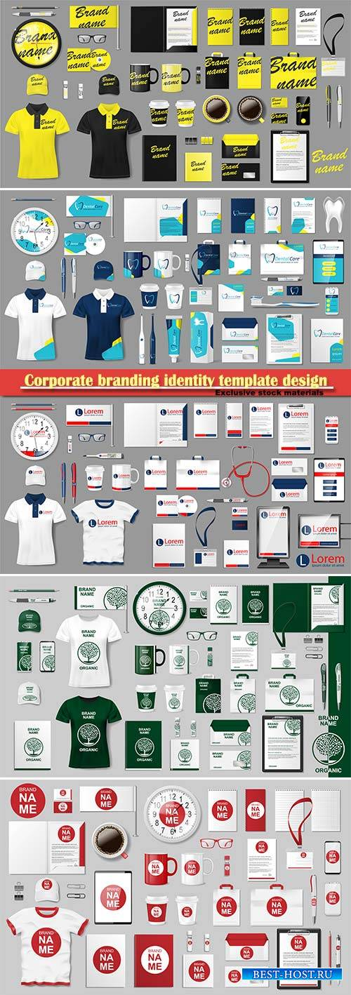 Corporate branding identity template design, modern business stationery moc ...