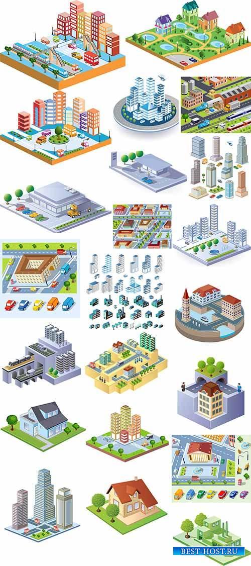 Жилые кварталы в 3D - Векторный клипарт / Residential areas in 3D - Vector Graphics