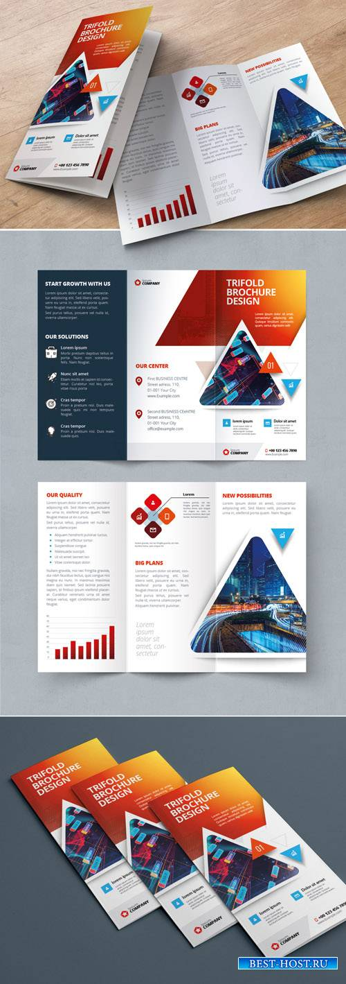 Red Gradient Trifold Brochure Layout with Triangles_267840479