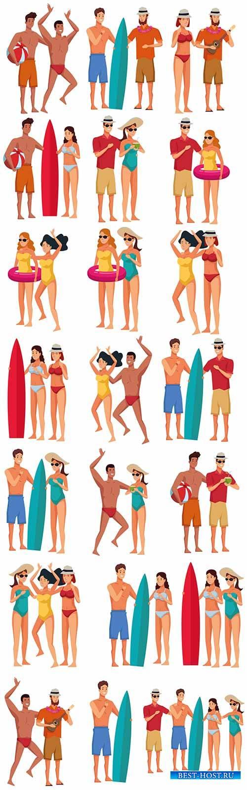 Молодые люди в купальниках - Векторный клипарт / Young people in bathing su ...