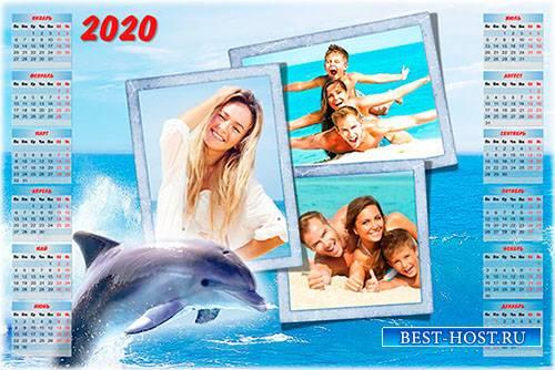 Настенный календарь-рамка на 2019, 2020 год - Море, лето, дельфины