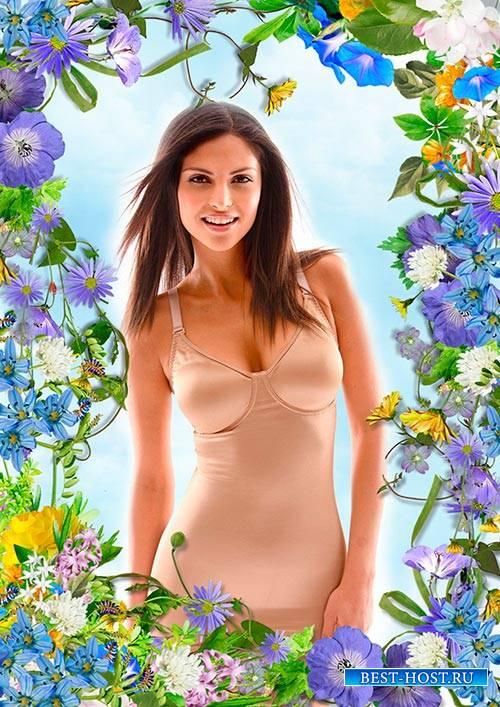 Женская рамка - Летняя цветочная композиция